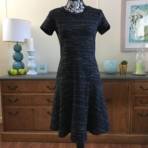 LOFT Fit & Flare Grey and Black Dress Size 0